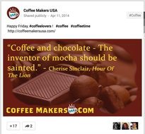 Coffee Makers USA Google Plus post