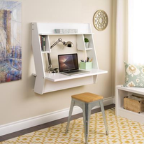 If you're looking for a little bit of the unexpected, try adding a built-in floating desk to your office space.