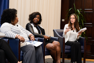 "Small business owners listen to a panel discussion on ""Access to Capital"" at National Press Club. Left to right: Connie Evans, president of the Association for Enterprise Opportunity; Catarah Coleman, co-owner of Southern Girl Desserts; and Amy Cortese, journalist and founder of Locavesting Media"