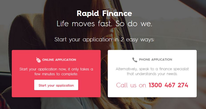 Rapid Finance Home Screen