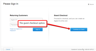eCommerce site guest checkout option