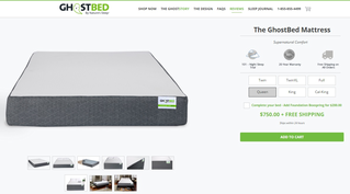 screenshot of GhostBed mattress purchase page