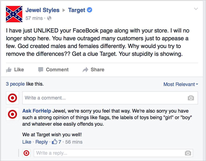 Adweek article about man posing as Target on Facebook responding to new gender neutrality