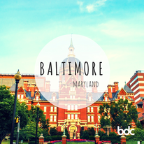 created image of Baltimore with red brick buildings campus