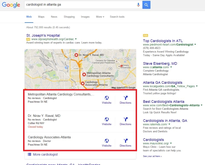 3-pack Google Maps results example