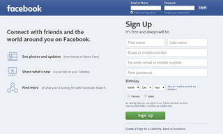 homepage copy of Facebook