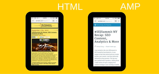 HTML and AMP comparative on tablets