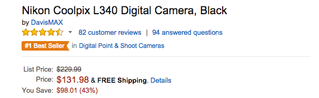 Nikon Coolpix L340 Digital Camera Product Price on Amazon