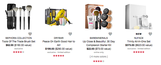 Brush set, hair dryer, cosmetics, skin care collections on Sephora