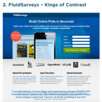 fluidsurveys King of Contrast ad. Build online polls.