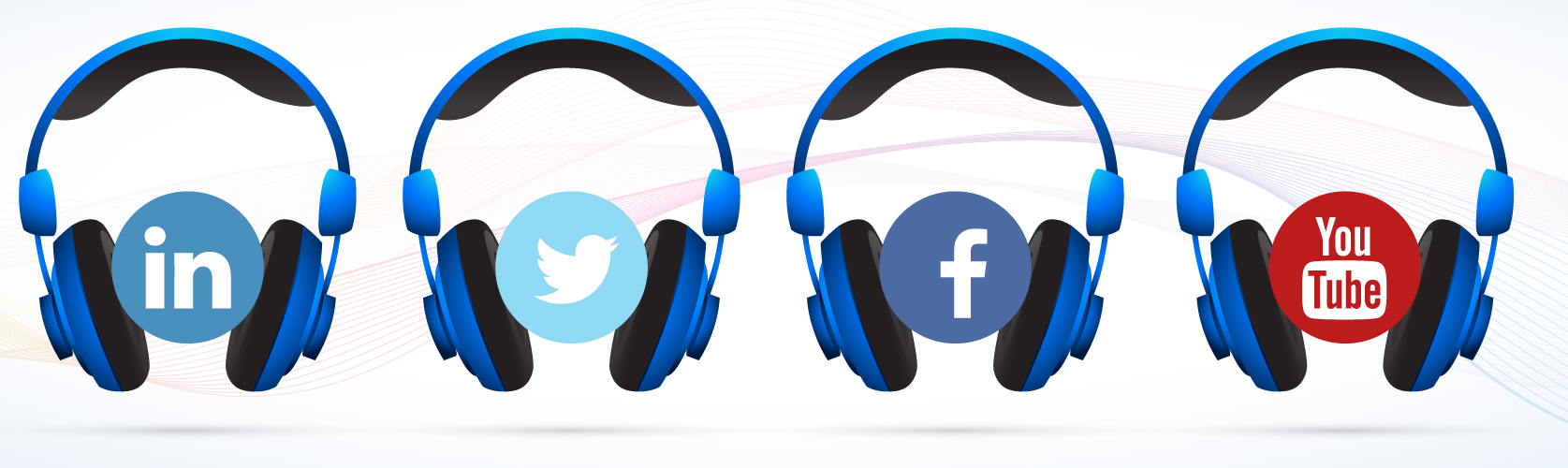 "Row of headphones with Linkedin, Twitter, Facebook and YouTube logo's ""listening"""