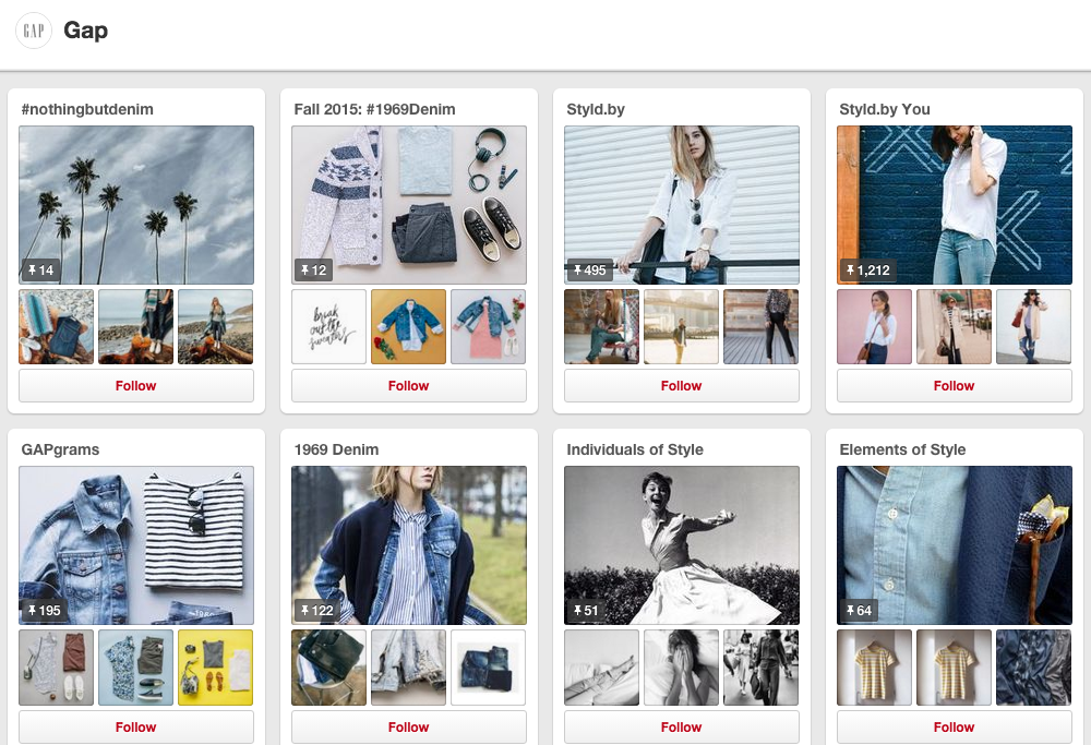 The Gap's Pinterest page