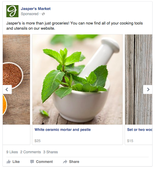 Jaspers Market carousel ad example on Facebook