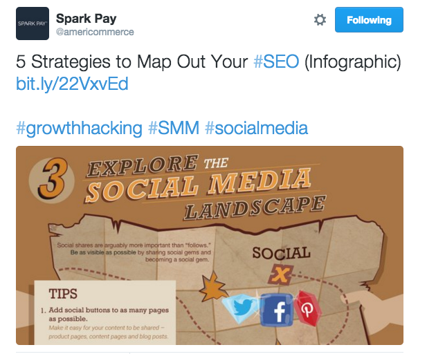 Spark Pay SEO themed infographic on Twitter