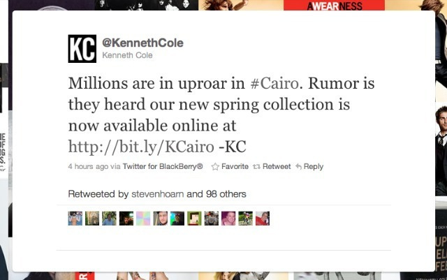 Kenneth Cole tweet about #Cairo - screenshot