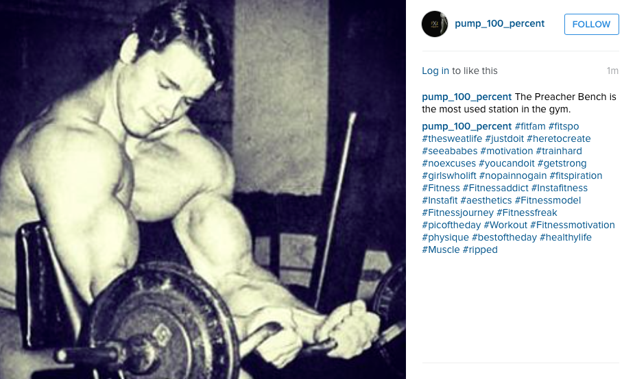 Hashtag results of Arnold Schwarzenegger on Instagram when #muscle is searched
