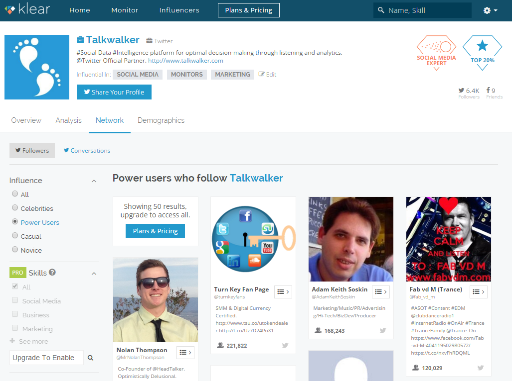 Klear influencer finding tool