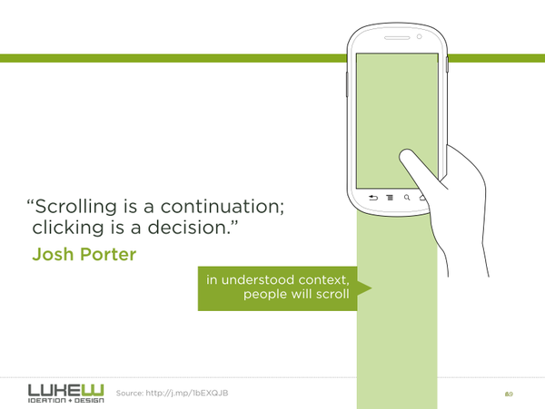 Scrolling is a continuation; clicking is a decision quote from Josh Porter