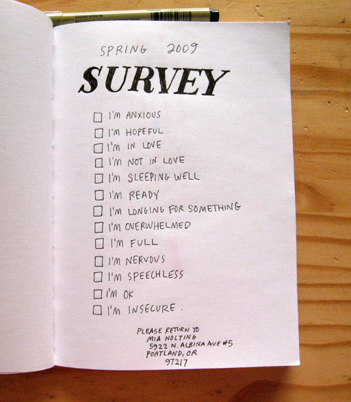 Handwritten Survey asking a list of questions