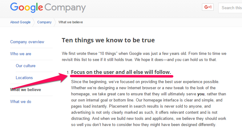 Google Company: Ten things we know to be true.