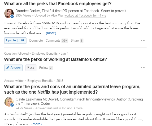 Quora results from employee perks and paternity leave