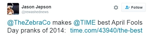 Jason Jepson tweet about Time Magazine best April Fools Day prank of 2014