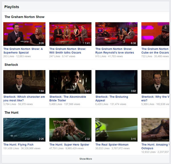 Examples of Facebook playlists