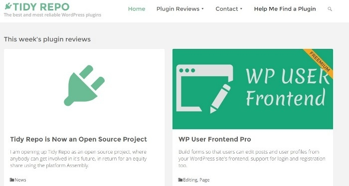 Open source plug-in review site, Tidy Repo