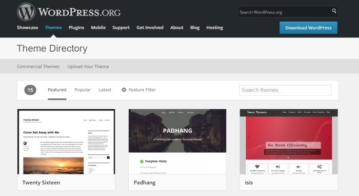 WordPress Theme directory page