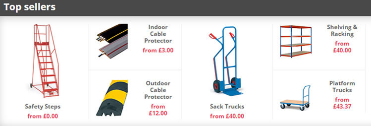 Examples of top selling items on The Workplace Depot website.