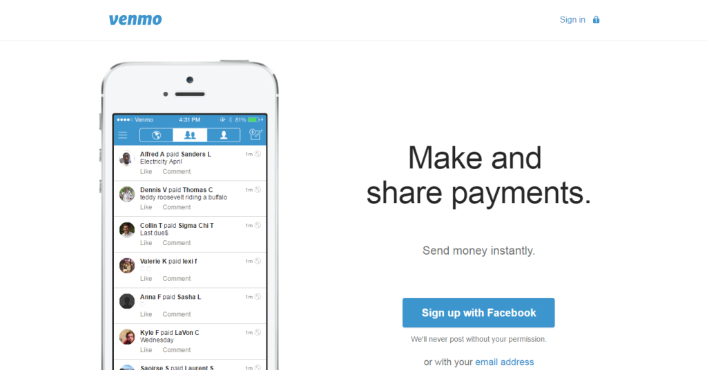 venmo homepage screen shot