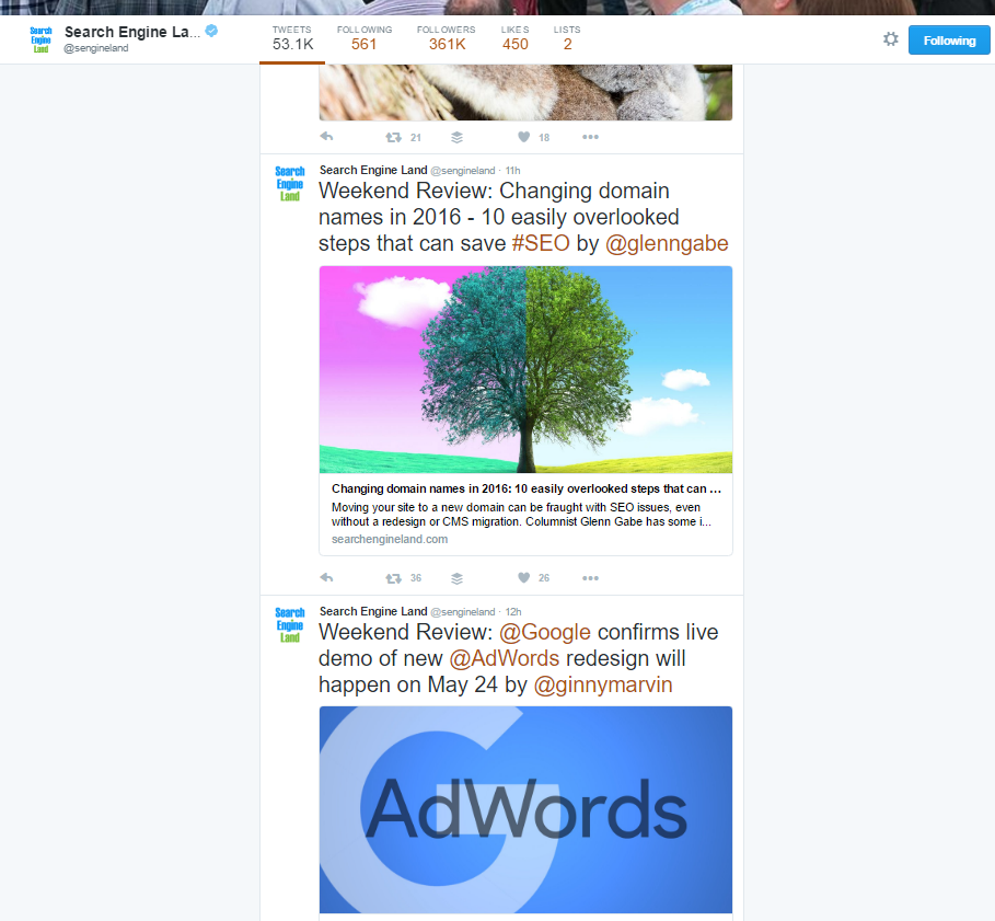 Search Engine Land twitter feed