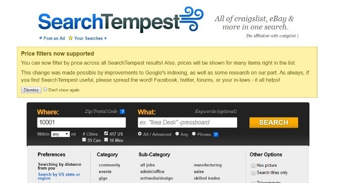 Search Tempest screen shot