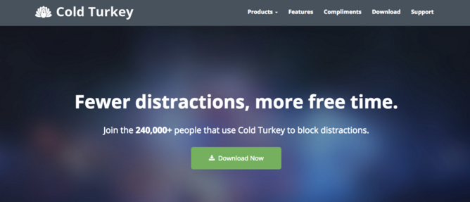 Cold Turkey homepage screen shot