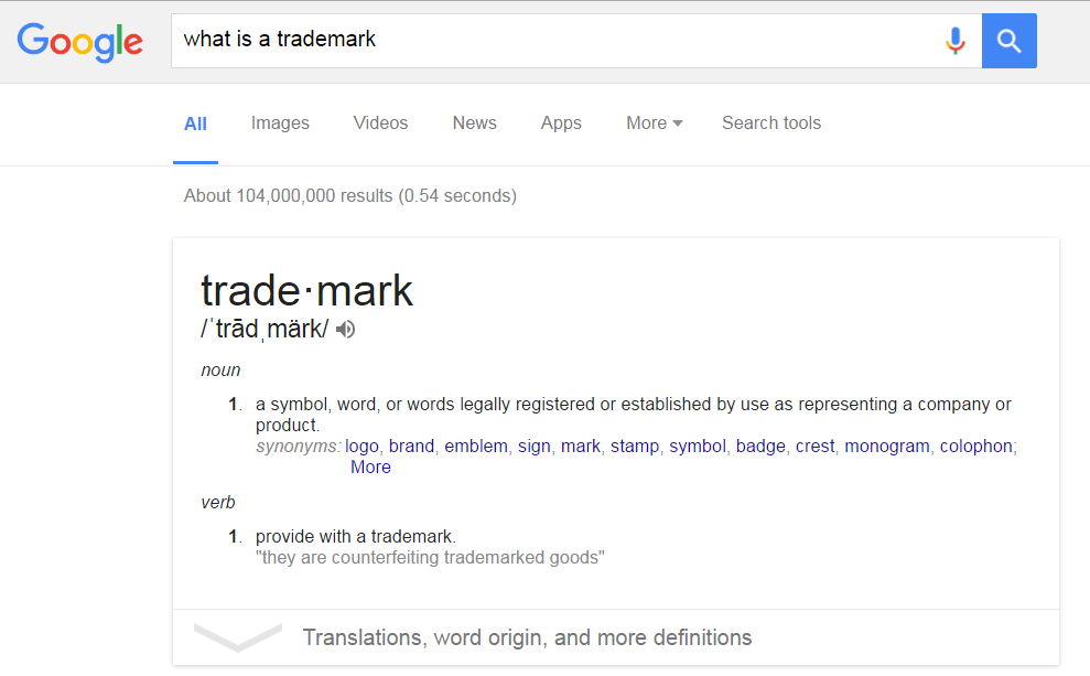 Google search result for definition of Trademark