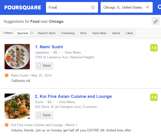 Restaurant listings on Foursquare
