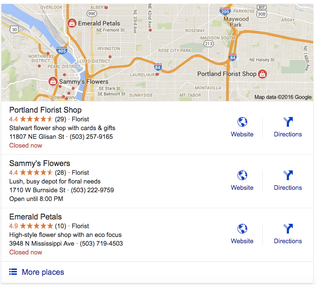3-pack - Google local search