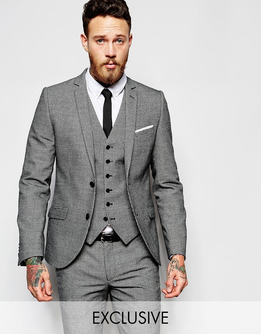 Heart & Dagger Houndstooth Suit Jacket in Super Skinny Fit