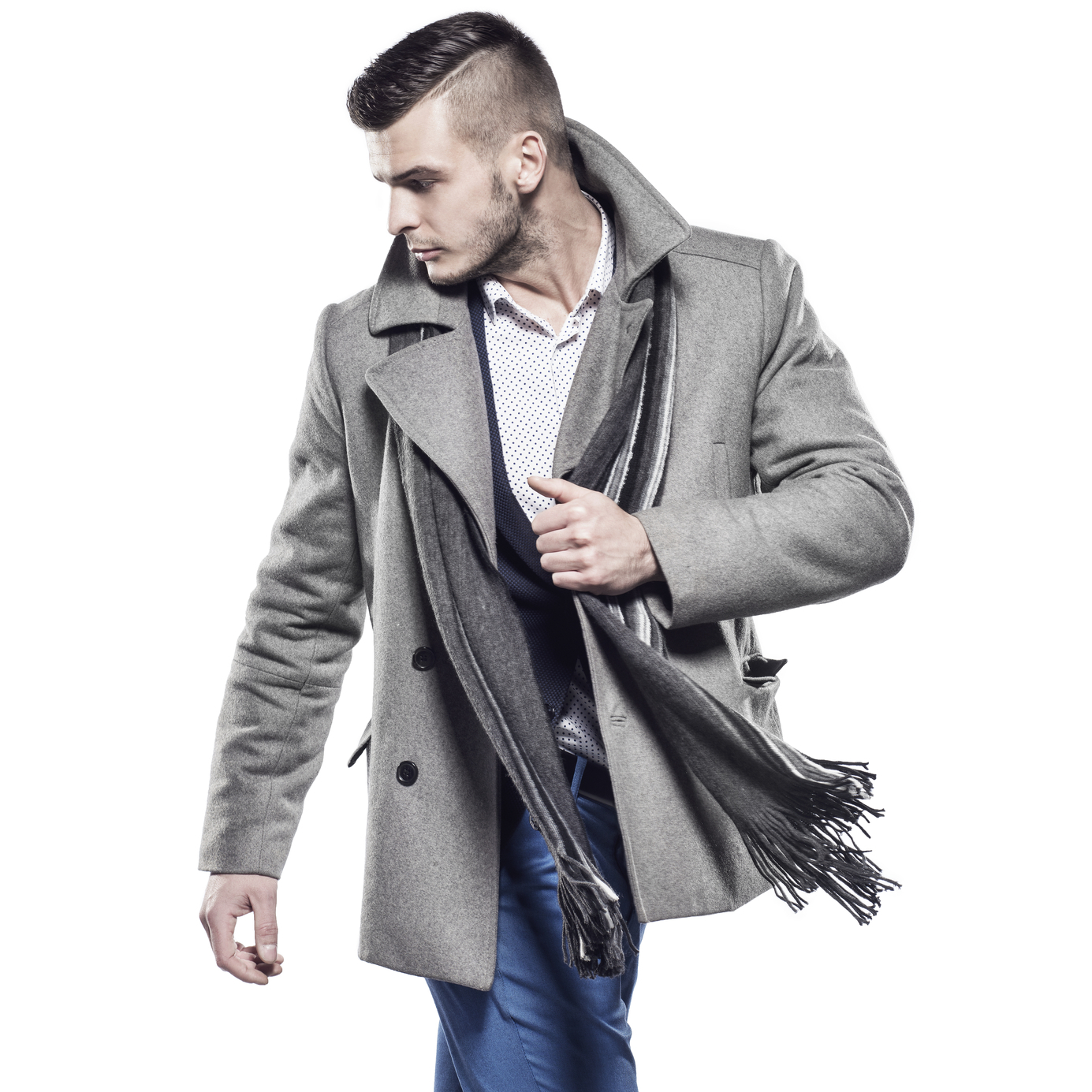 Man in jacket and shirt with scarf
