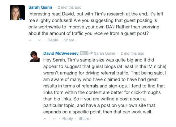 Commenter marketing example of Sarah Quinn