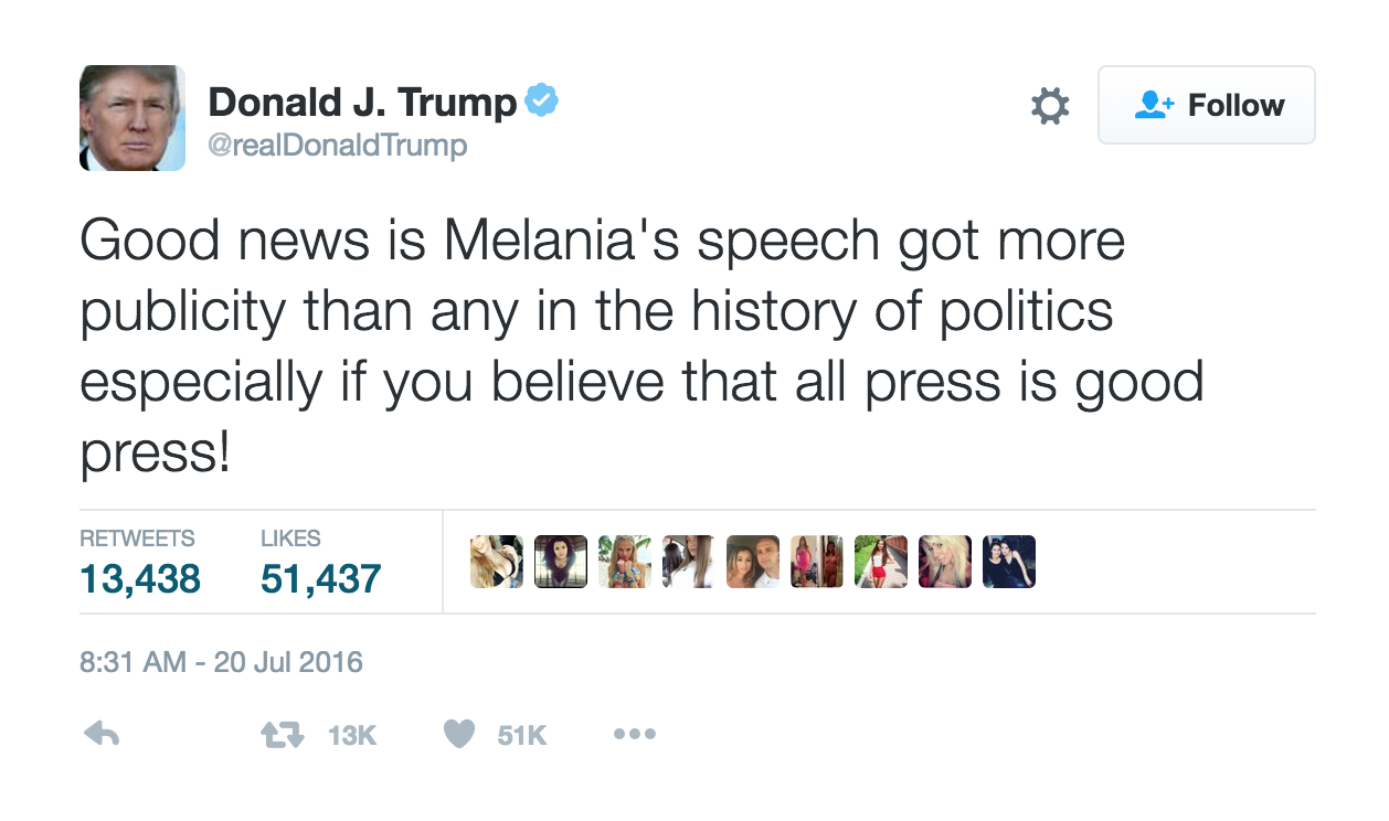 Donald Trump Tweet about Melania Speech screenshot