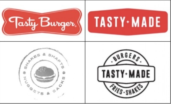 Tasty Burgers and Tasty Made Burgers logos comparisons.
