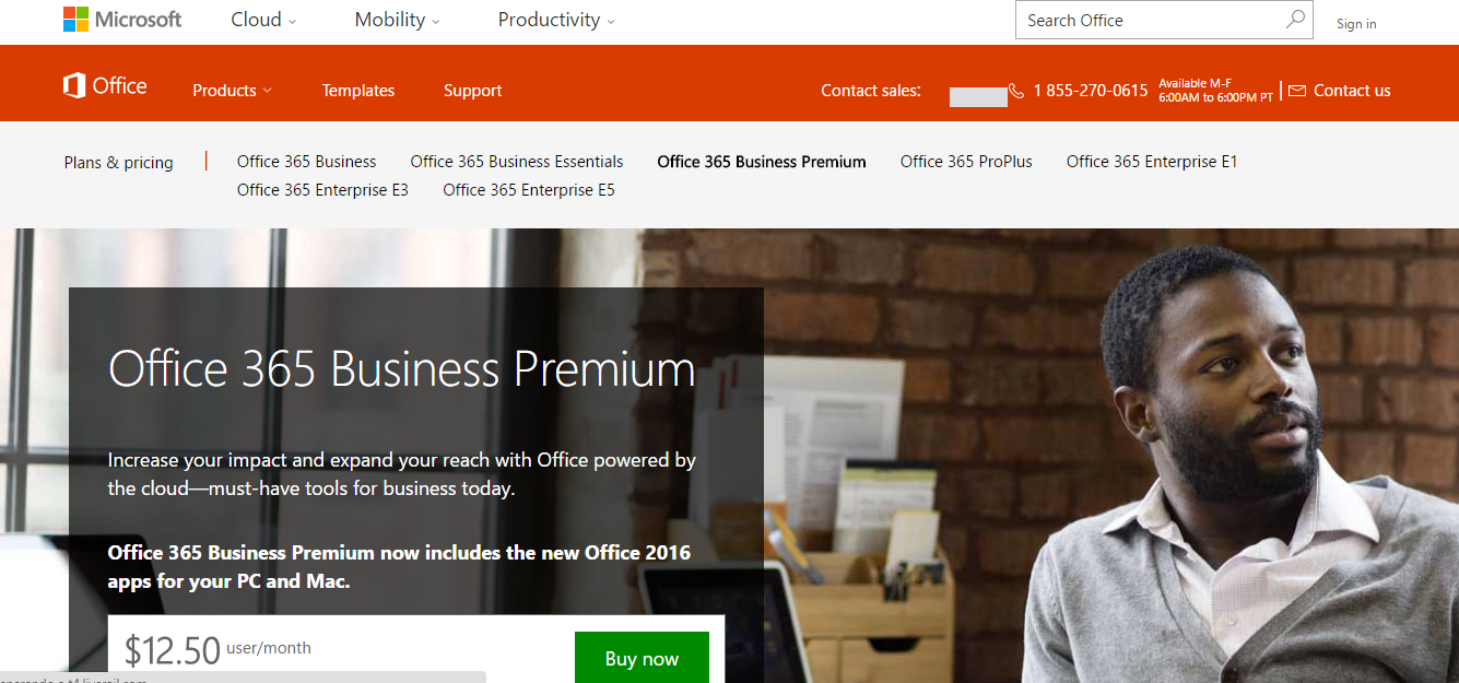 Microsoft Office 365 home page screenshot