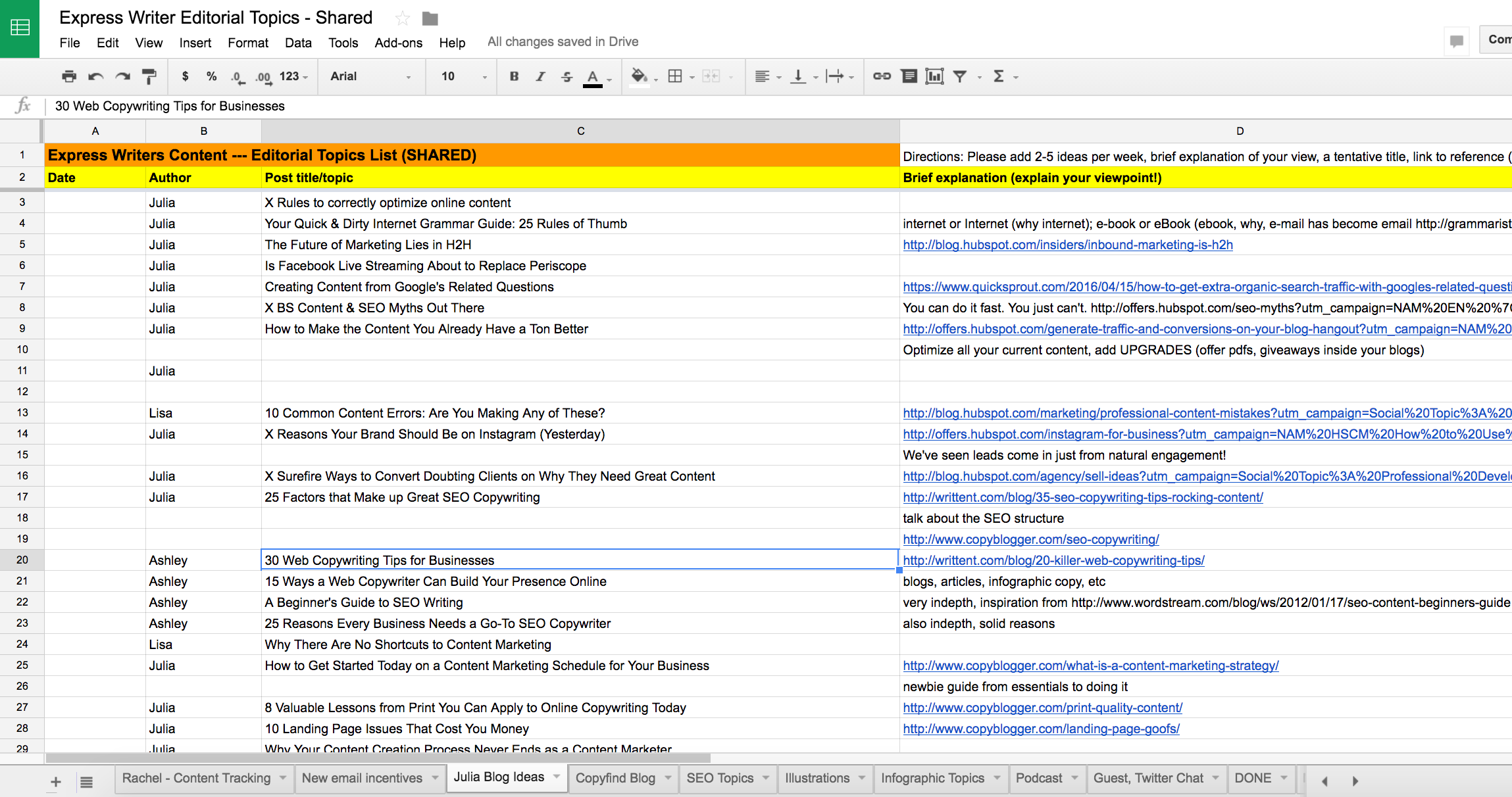 Google Docs Sheet example - screenshot