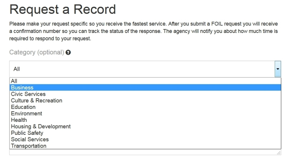 Request a record form example