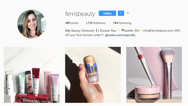 Screenshot of ferrisbeauty's Instagram profile